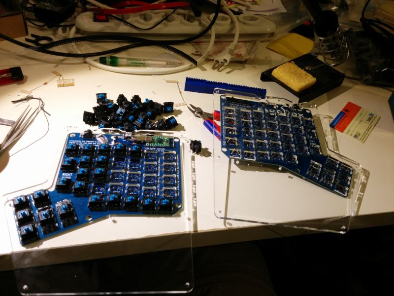 ErgoDox keyboard halfway finished